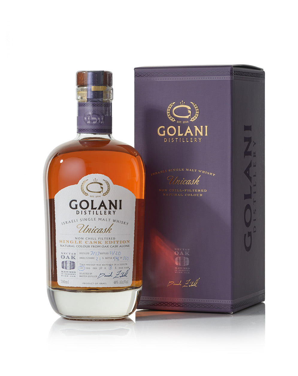 Golani Unicask Single Malt Single Cask 1st release # 100 release bottle number - 1 thru 310 46% 700 ml