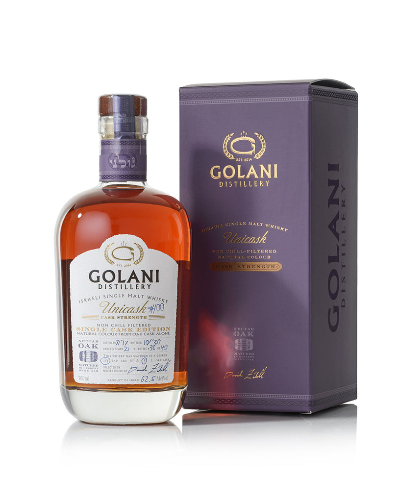 Golani Unicask Single Malt Single Cask 1st release # 100 release bottle number - 1 thru 40 CS 62.5% 700 ml