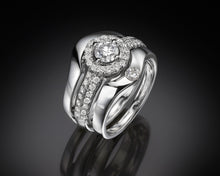 "Load image into Gallery viewer, ""Eimy""- French-Set Halo Solitaire Diamond Band."