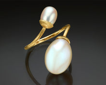 "Load image into Gallery viewer, ""Toi et Moi""- Dual Pearl Open Ring."