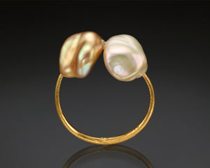 """Sync""- Keshi Baroque Open Ring."