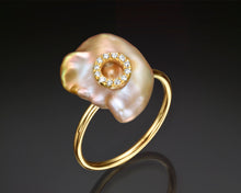 "Load image into Gallery viewer, ""Nikea""- Keshi Baroque Pearl & Diamonds Ring."