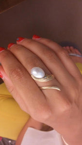 """Life""- Oval Pearl Ring."
