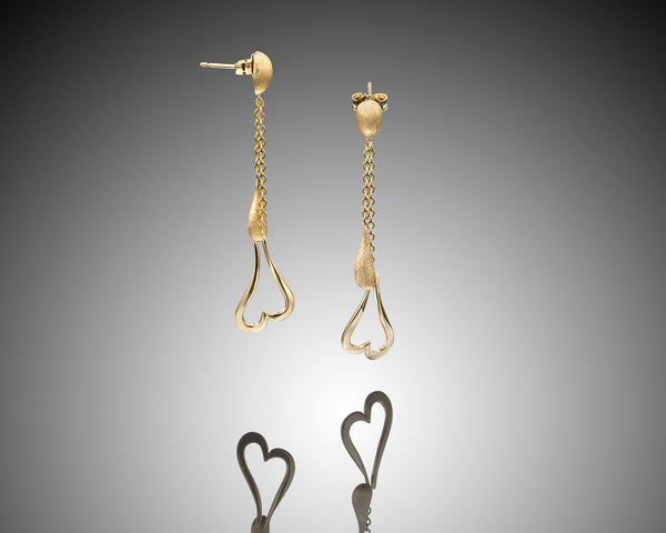 18k earrings ,Heart shaped, dangle earrings, 18K Yellow Gold, gift for her, Unique design, for her, Everyday earrings, gold nugget, satin finish, For Woman, LAYANIJEWELRY.COM