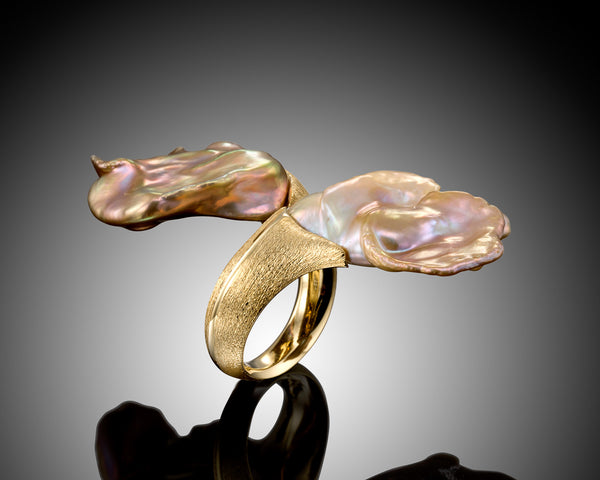 Balance, Purple and Pink Baroque Keshi Pearls Ring