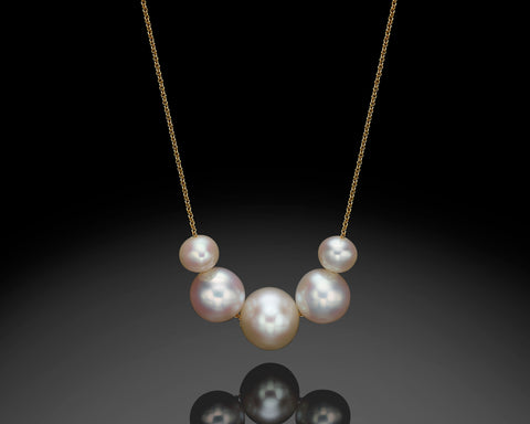 Gold Multi Pearls Necklace