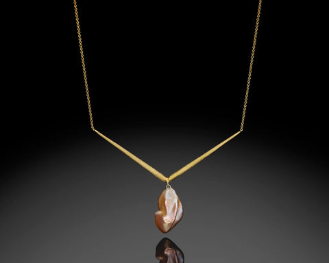 Keshi Pearl V Shape Necklace