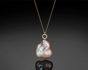 """Bellatrix""- Keshi Pearl & Diamonds Necklace."