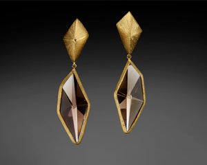 """Edges Of Love""-  Smoky Quartz, Dangle Earrings."