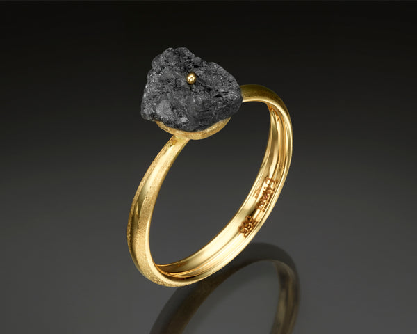 Black rough diamond Solitaire Ring