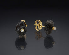 "Load image into Gallery viewer, ""Mist""- Black Rough Diamond Studs."