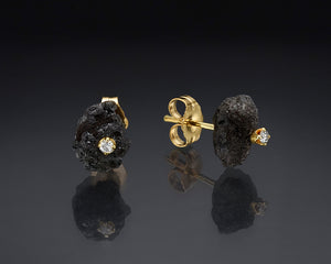 """Mist""- Black Rough Diamond Studs."