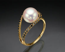 "Load image into Gallery viewer, ""Sol""- Floating Pearl Ring."