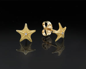 """Sea Star""- Gold Studs Earrings."