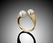 "Load image into Gallery viewer, ""Face 2 Face"" -Twist Open Pearls Ring."