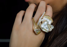 "Load image into Gallery viewer, ""Butterfly""- Pearls & Diamond Ring."