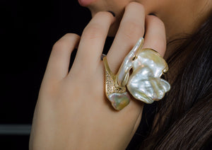 """Butterfly""- Pearls & Diamond Ring."