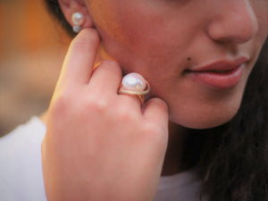 """Saturn""- Floating Pearl Ring."