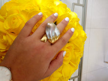 "Load image into Gallery viewer, ""Wave""- Baroque Keshi Pearl Oversize Ring."