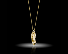"Load image into Gallery viewer, ""Wild Condor""- Gold Feather Necklace."