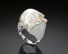 "Load image into Gallery viewer, ""Canis""- Baroque Keshi Pearl & Diamonds Ring."