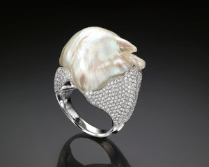 """Canis""- Baroque Keshi Pearl & Diamonds Ring."
