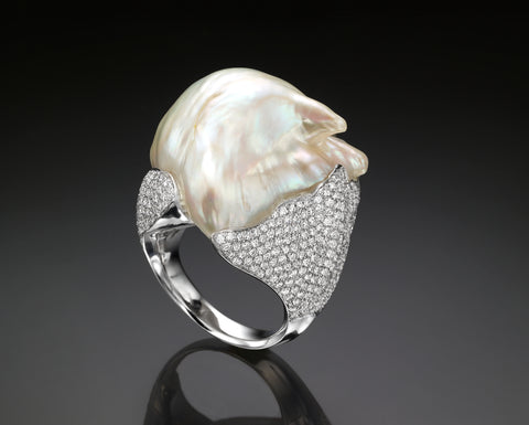 Diamond & Keshi Pearl Ring