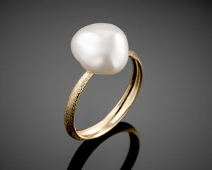 """Century""- Keshi Pearl, Solitaire Ring."