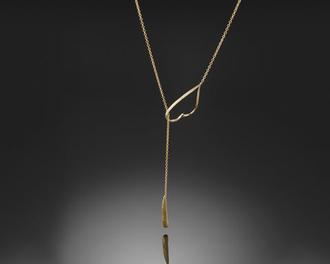 18K Yellow Gold, Lariat pendant, gift for her, Unique design, for her, Everyday necklace, gold nugget, satin finish, For Woman
