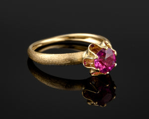 """Lital""- Ruby Engagement Gold Ring."