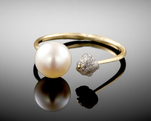 """Eclipse""- Raw Diamond & Pearl Ring."