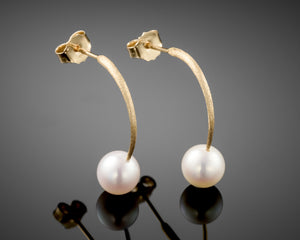 """Reflection""-Arc Pearls Earrings."