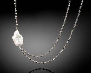 """Stardust""- Keshi Baroque Pearl & Diamonds Long Necklace."