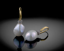 "Load image into Gallery viewer, ""Luna""- Keshi Pearls & Diamonds Hook Earrings."