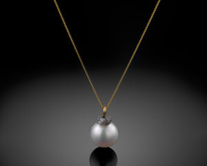 """Earth""- Raw Diamond & Pearl Necklace."