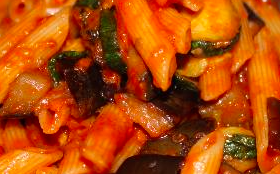 Penne with tomato ,zucchini, eggplant and basil