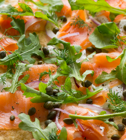 Pizza with local smoked salmon and capers