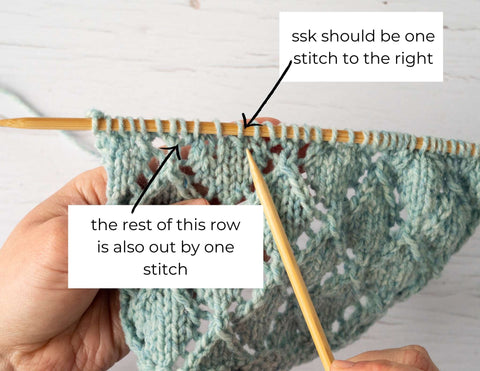 """photo showing an ssk with the text """"ssk should be one stitch to the right"""""""