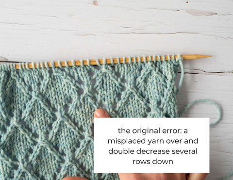 """photo of a swatch with a messy portion and the text: """"the original error: a misplaced yarn over and double decrease several rows down"""""""