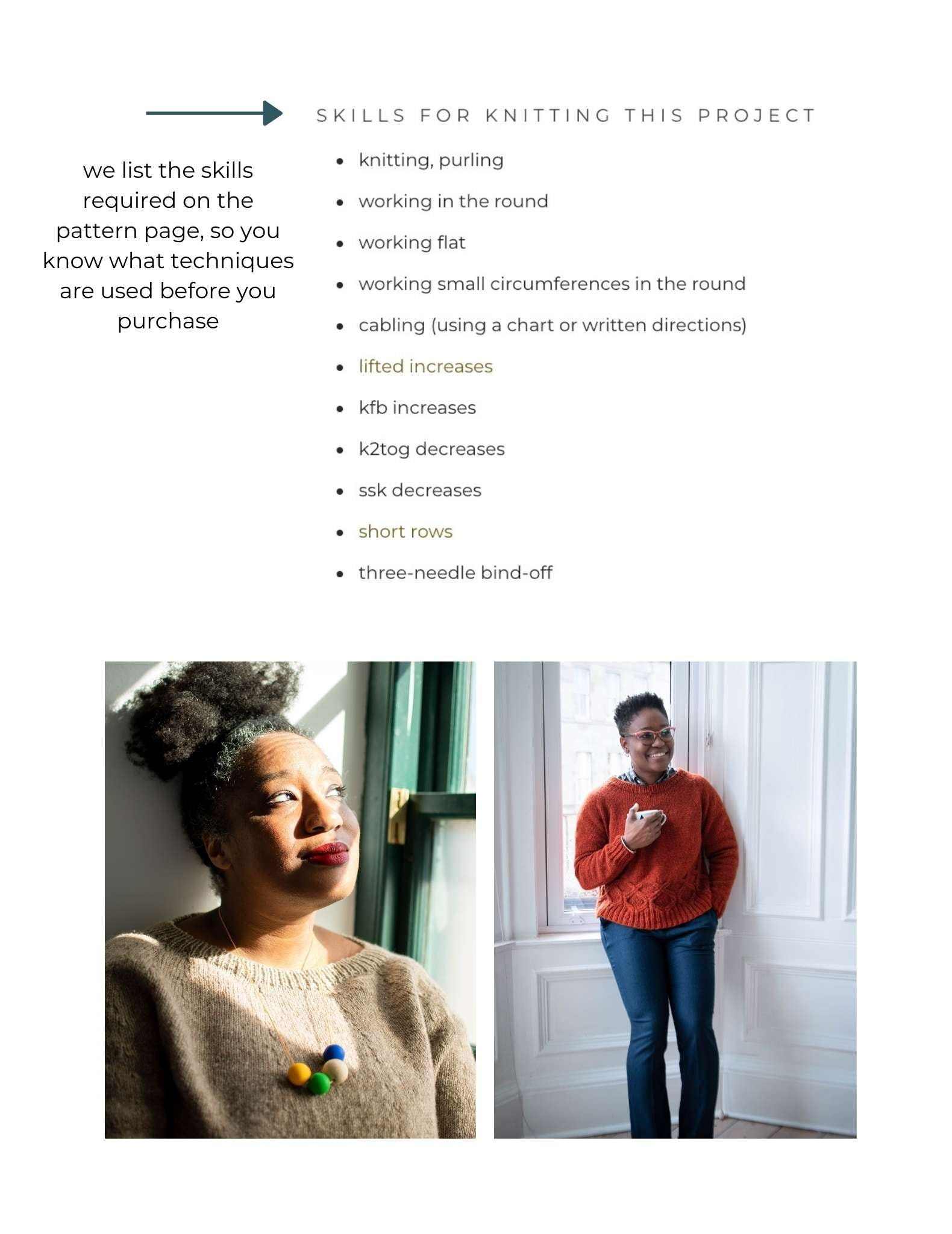 a screenshot showing the skills needed to complete a knitting pattern, and underneath two images of black women wearing the sweater design. One is looking out of a window wearing a pale neutral sweater and chunky necklace, the other stands next to a window wearing an orange sweater.