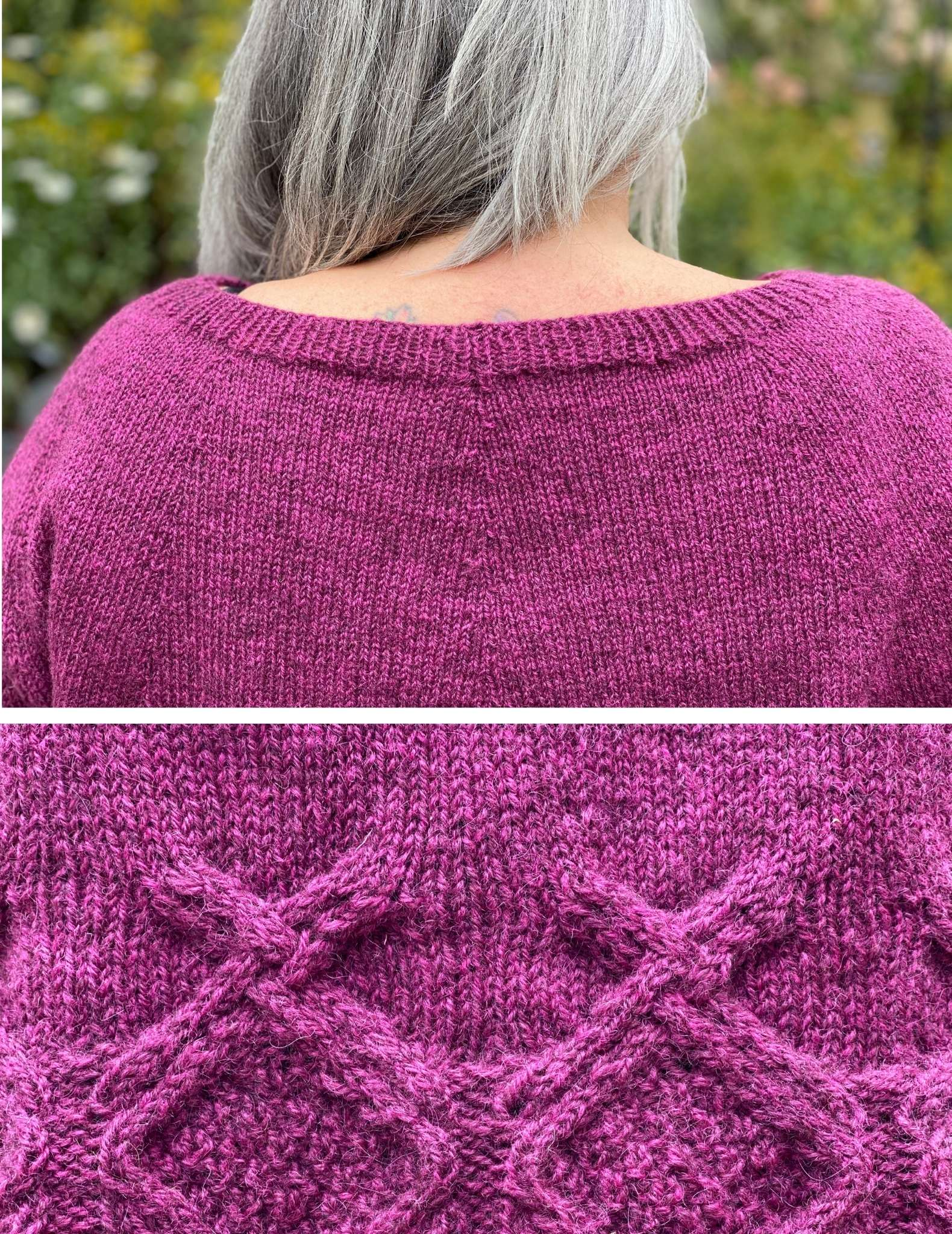 split image of the back of the neckline of a pink sweater, and a close up of a cabled hem