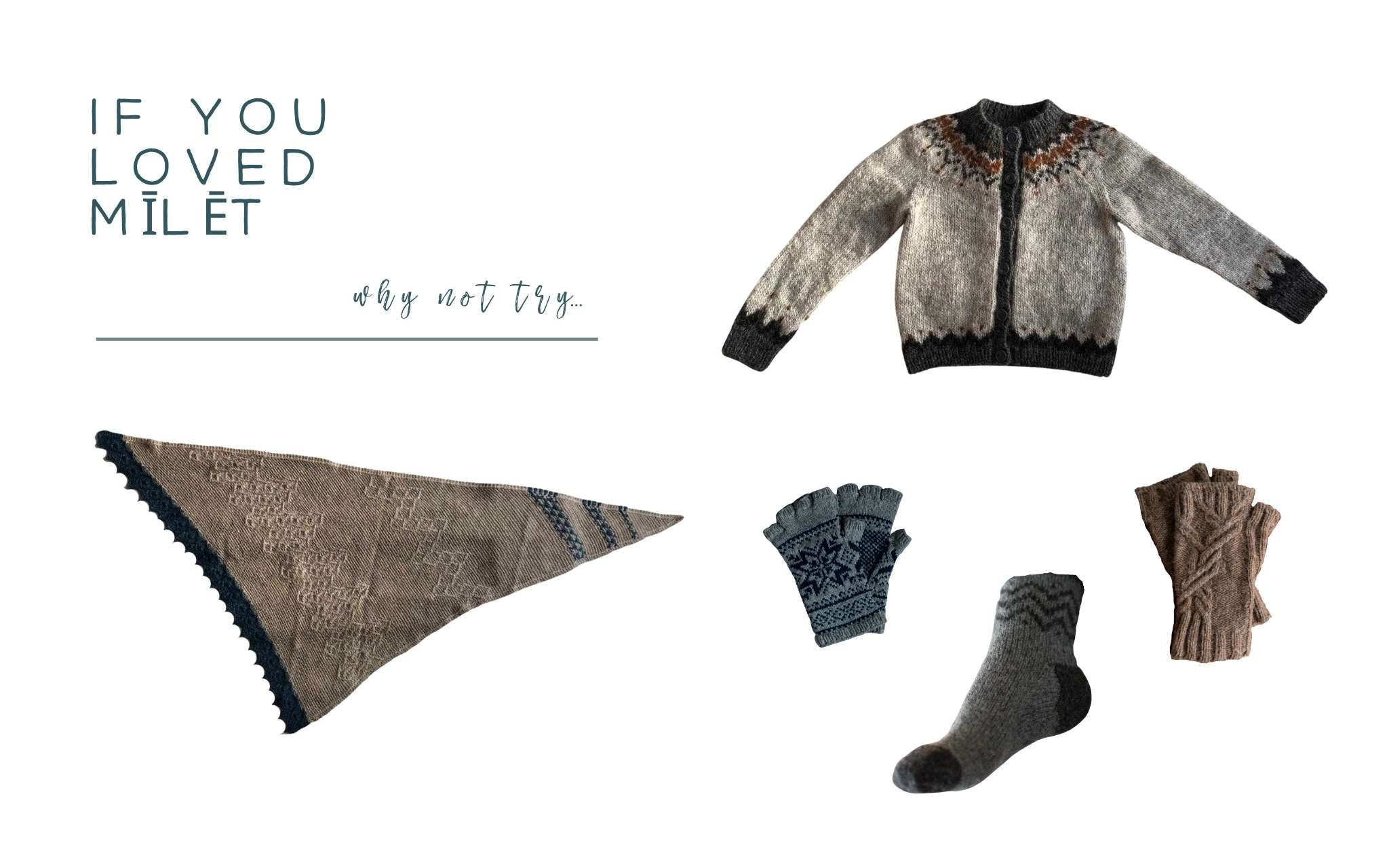 Images of a shawl, cardigan, socks and mittens laid flat on a white background.