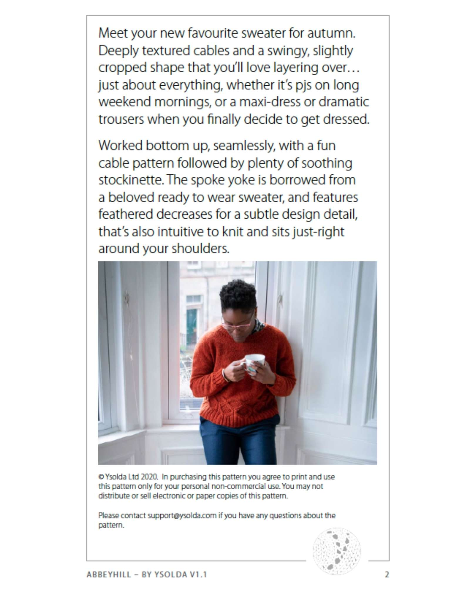 example of a mobile layout of a knitting pattern page with large black text at the top and an image of a black woman wearing an orange sweater underneath