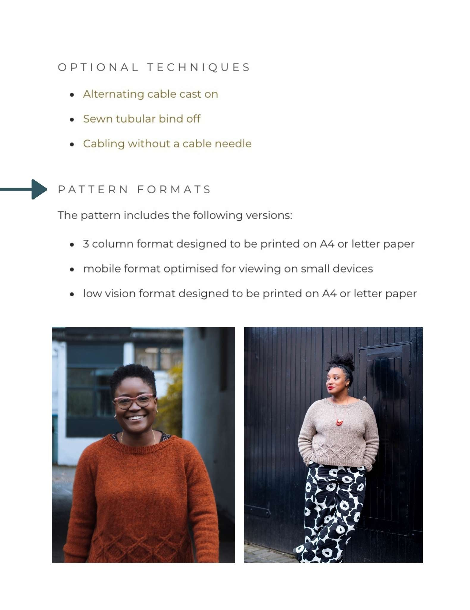a screenshot showing information about optional techniques, pattern formats and two images of black women wearing an orange sweater and a neutral sweater. An arrow points at the pattern format information.