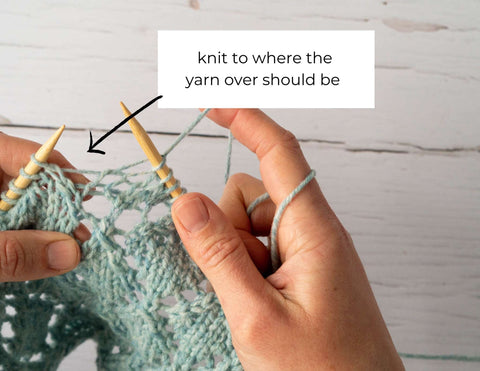 """photo showing loose strands of yarn next to a decrease with the text """"knit to where the yarn over should be"""""""