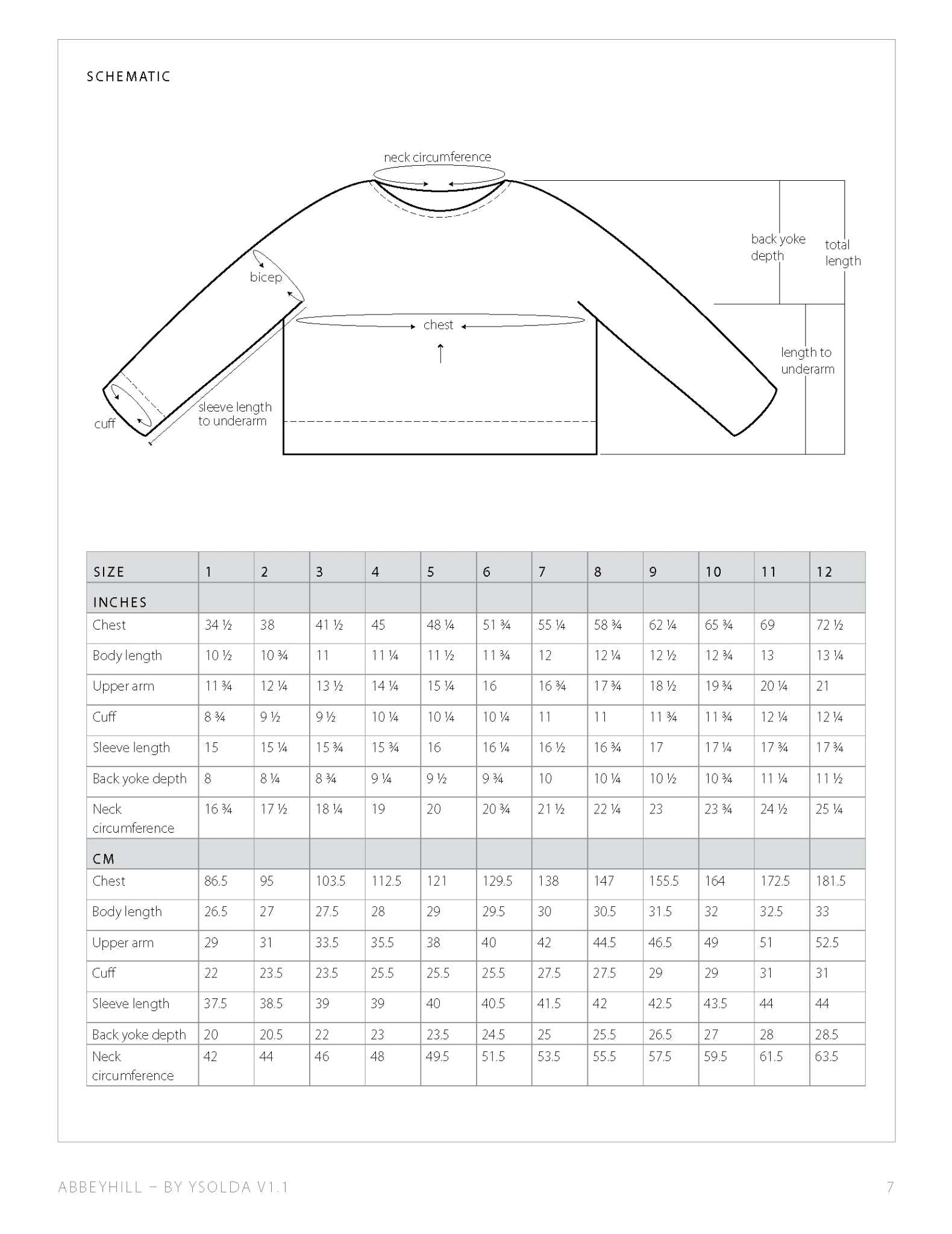 a screenshot of a sweater schematic, with arrows to show the measurement points taken, and a table of measurements for each size