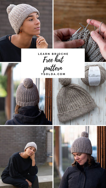 A collage of images of a brioche hat with text reading Learn Brioche, Free Hat Pattern, ysolda.com