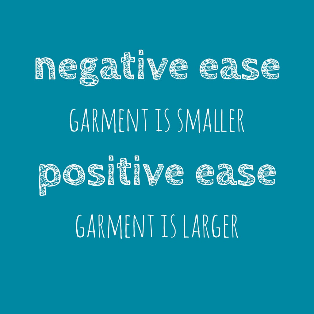 graphic with text: negative ease, garment is smaller, positive ease, garment is larger