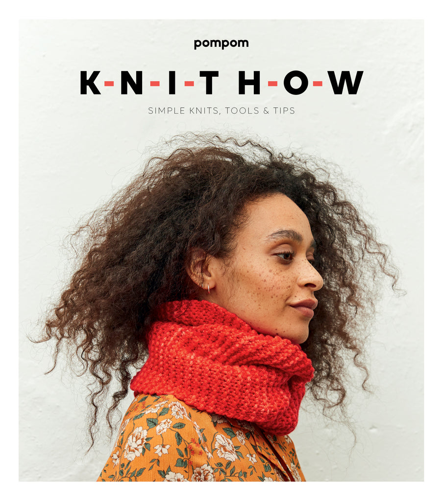Image of the cover of Knit How, features a freckled black woman wearing an orange/red garter stitch cowl