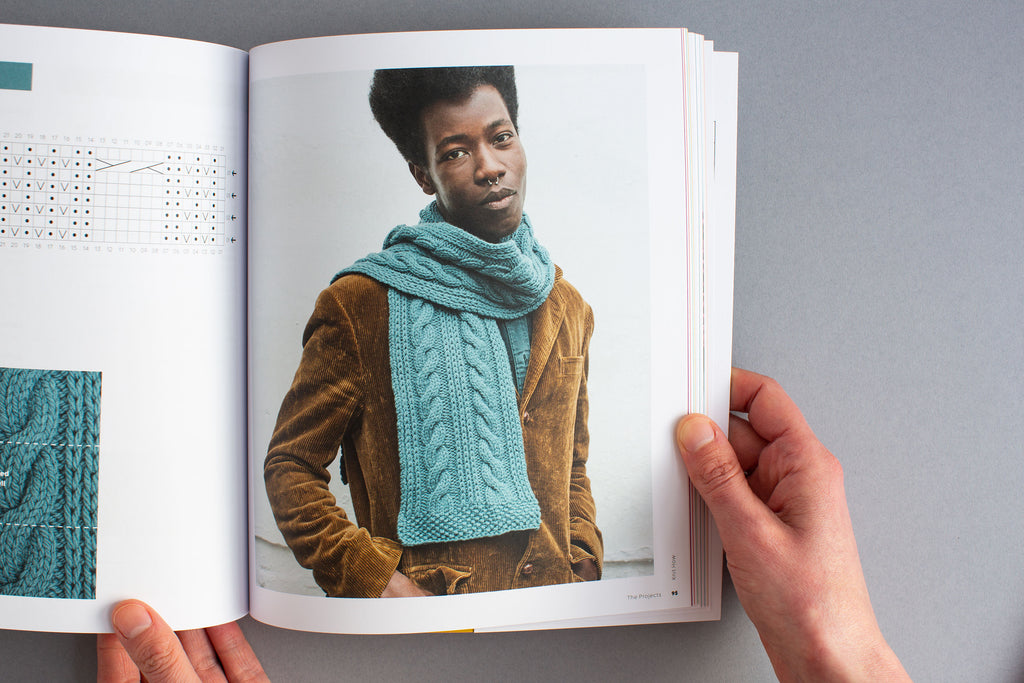 Hands holding Knit How Open on a picture of a Black male model wearing a cabled scarf